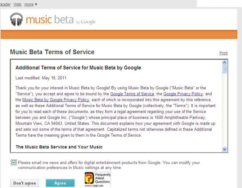 גוגל מוזיקה-תנאי השימוש