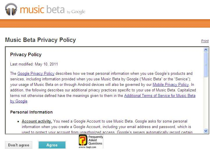 גוגל מוזיקה-תנאי אבטחת השירות