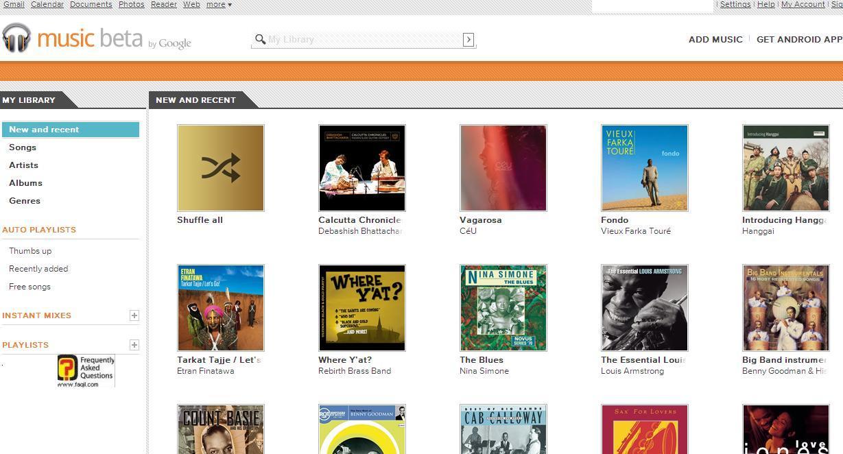 גוגל מוזיקה-העמוד הראשי של השירות