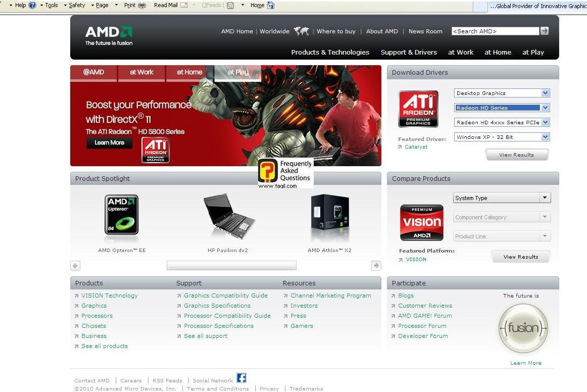בחירת כרטיס מסך ומערכת הפעלה לקבלת דרייבר מתאים , באתר ati