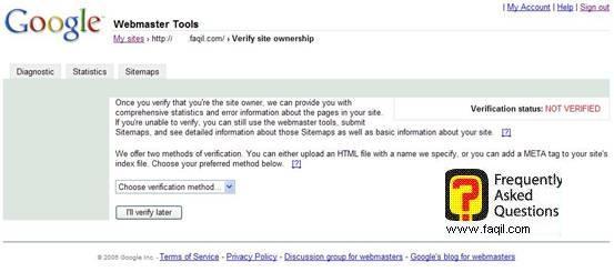 אישור האתר שלך, גוגל וובמאסטר