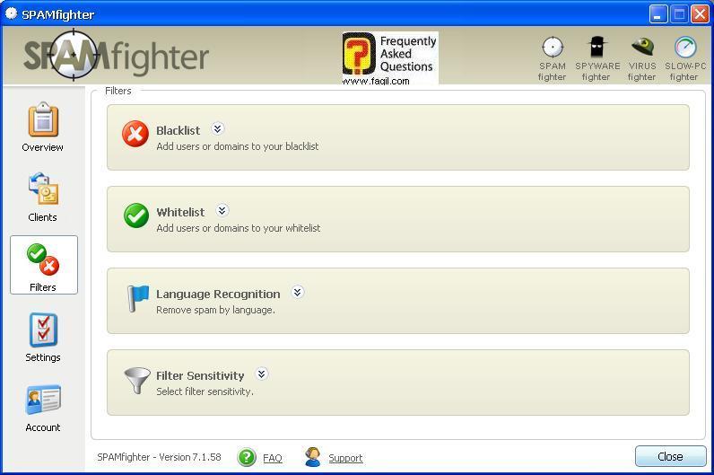 ניתן רשימת חסומים ולא חסומים, תוכנת SPAMfighter