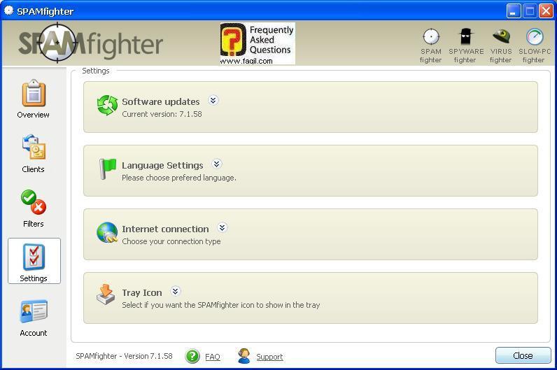 הגדרות חיבור אינטרנט, תוכנת SPAMfighter