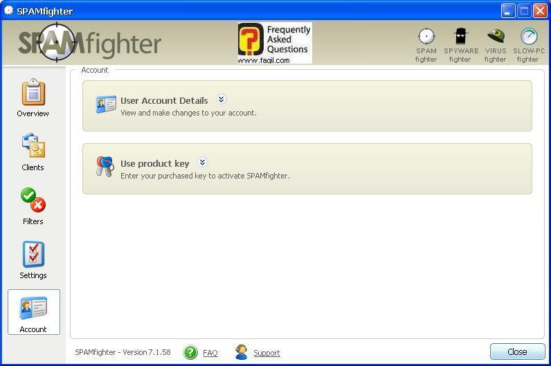 הקשת קוד רישיון,תוכנת SPAMfighter