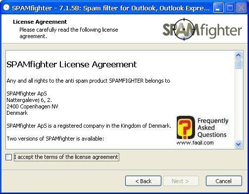 מסך הסכם הרישיון, תוכנת SPAMfighter