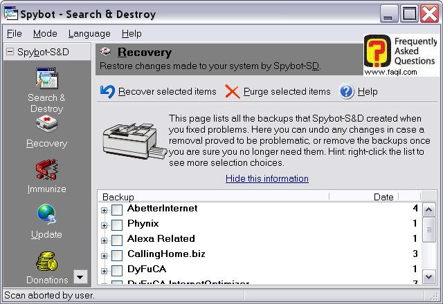 אופציית שחזור,Spybot Search & Destroy 1.3