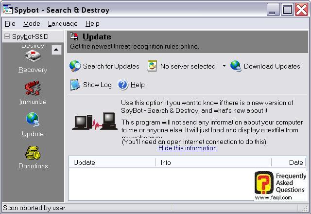 מסך עדכונים,Spybot Search & Destroy 1.3