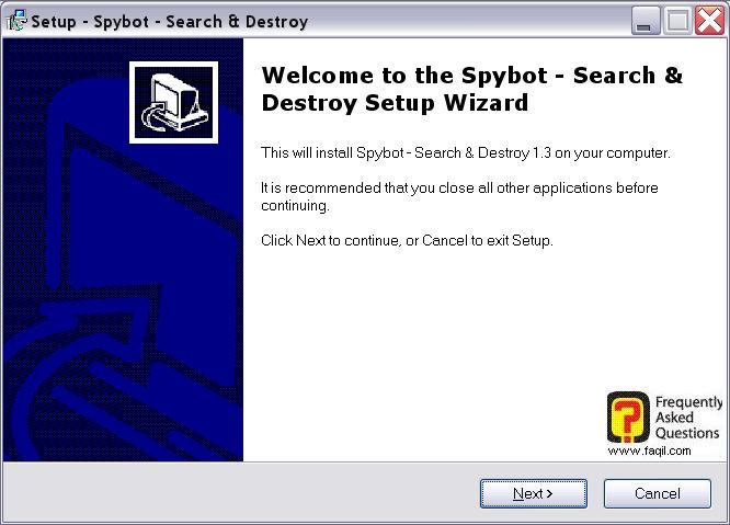 מסך ברוכים הבאים להתקנה,Spybot Search & Destroy 1.3