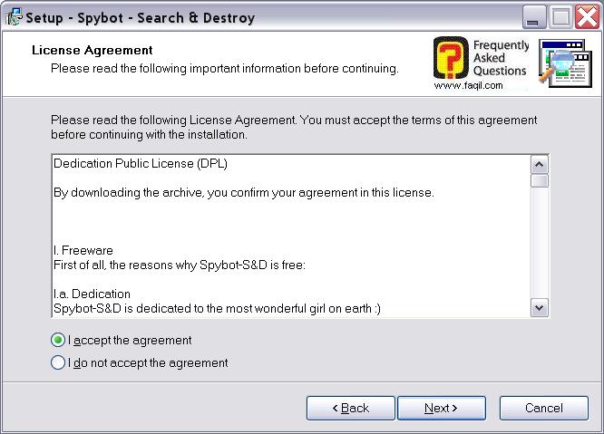 מסך תנאי שימוש להתקנה,Spybot Search & Destroy 1.3
