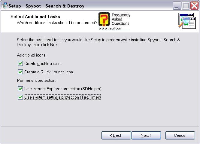 מסך יצירת אייקונים בהתקנה,Spybot Search & Destroy 1.3