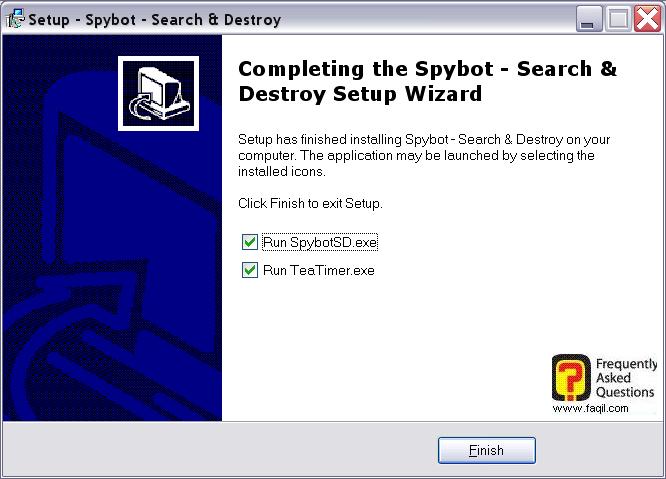 מסך סיום התקנה,Spybot Search & Destroy 1.3
