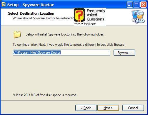 מסך מיקום יעד להתקנה,Spware Doctor