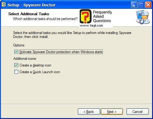 מסך יצירת קיצורי דרך בהתקנה,Spware Doctor