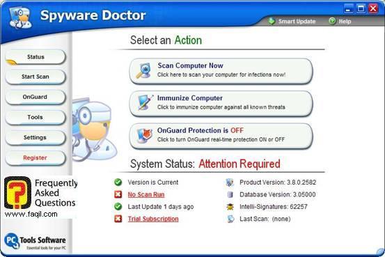 מסך ראשי,Spware Doctor