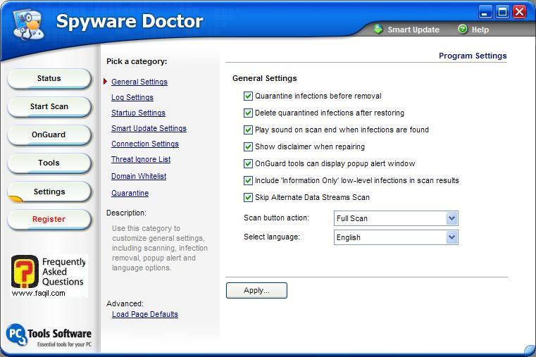 הגדרות כלליות,Spware Doctor