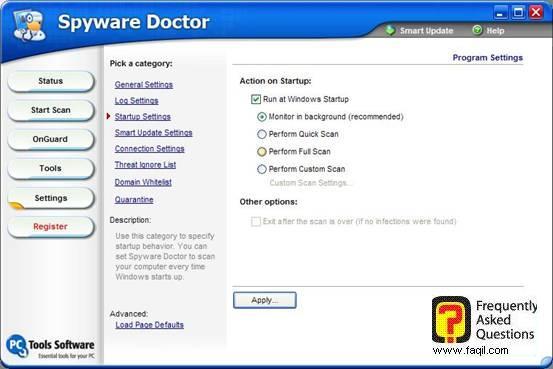 הגדרות הרצה,Spware Doctor
