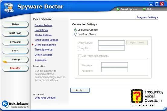 הגדרות חיבור,Spware Doctor