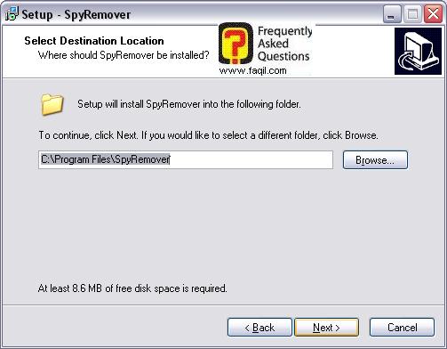 מסך מיקום היעד  להתקנה,תוכנת SPYREMOVER