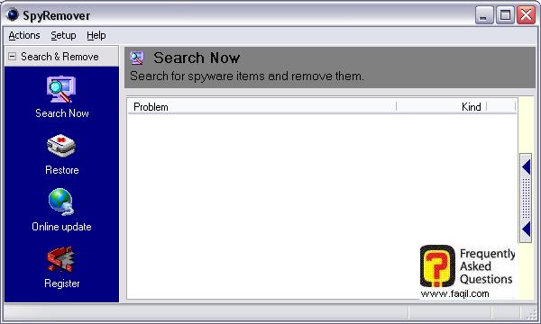 החלון הראשי,תוכנת SPYREMOVER