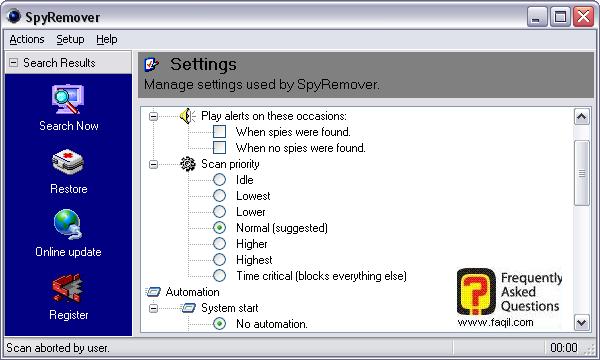 הגדרות,תוכנת SPYREMOVER
