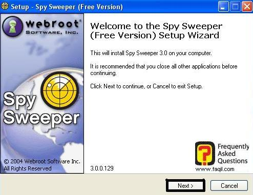 מסך ברוכים הבאים  להתקנה,תוכנה Spy Sweeper