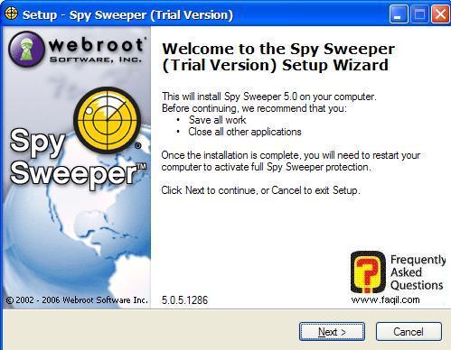 מסך ברוכים הבאים להתקנה,Spy Sweeper 5