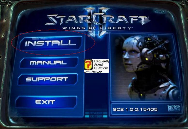 בחירה בהתקן -install, להתקנת המשחק סטארטקראפ 2