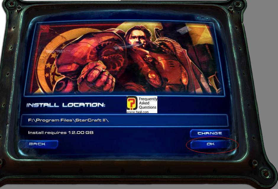 מראה לכם את המיקום שנבחר להתקנה, בחרו בok להתקנת המשחק  סטארטקראפ 2
