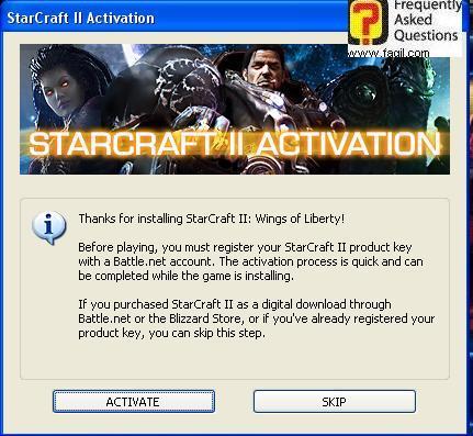 שואל אתכם אם להירשם או לא לבאטל.נט, בחרו ב-activate, בזמן שמתקין לכם סטארטקראפ 2