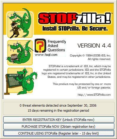 בחירה באפשרות השלישית, לפתיחת התוכנה,תוכנת STOPzilla!