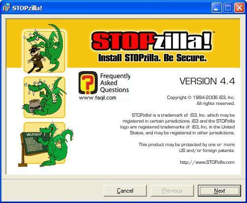 מסך ברוכים הבאים להתקנה,תוכנת STOPzilla!