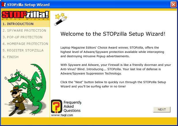 מסך ברוך הבא להגדרות ראשוניות,תוכנת STOPzilla!