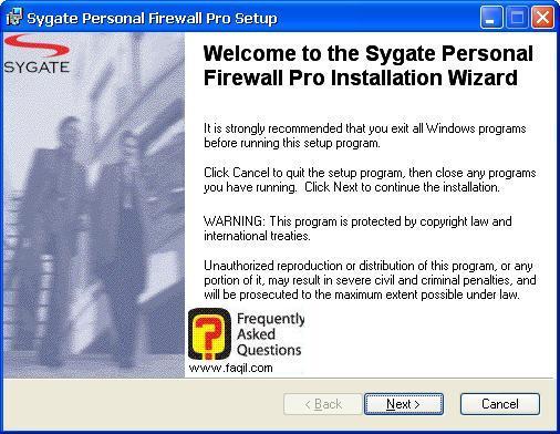 מסך ברוכים הבאים להתקנה,Sygate Personal Firewall Pro