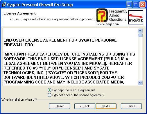 מסך תנאי שימוש  להתקנה,Sygate Personal Firewall Pro