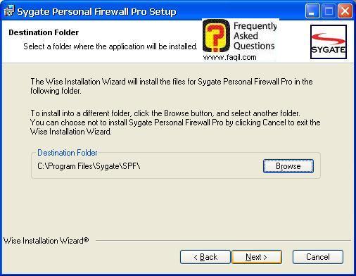 מיקום היעד להתקנה,Sygate Personal Firewall Pro
