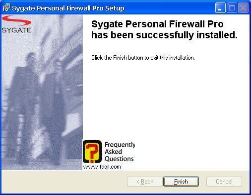 סיום ההתקנה,Sygate Personal Firewall Pro