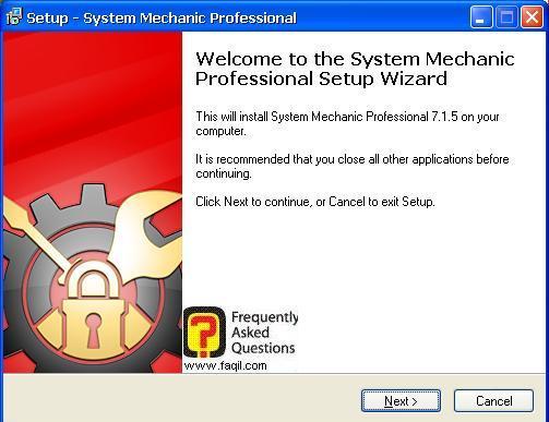 מסך ברוכים הבאים  להתקנה, system mechanic 7 pro