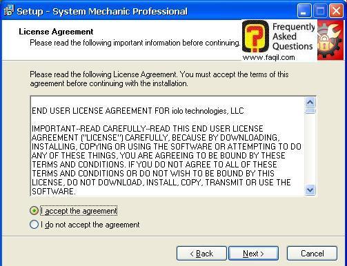 מסך הסכם הרישיון  להתקנה, system mechanic 7 pro