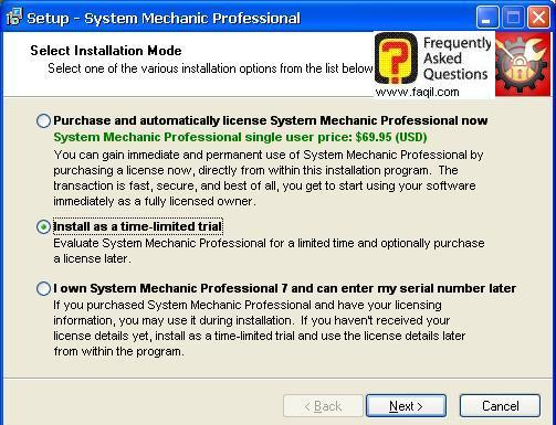 אפשרויות התקנה, system mechanic 7 pro