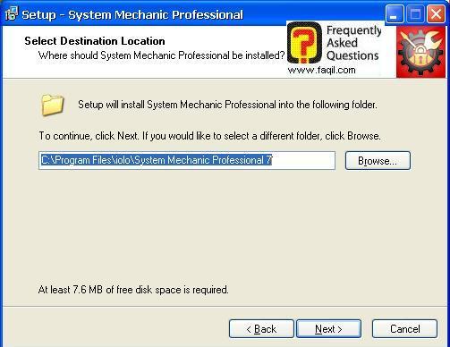 מיקום היעד להתקנה, system mechanic 7 pro