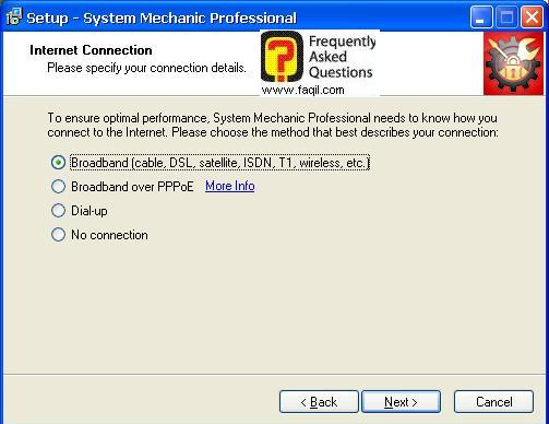 סוג חיבור אינטרנט בהתקנה, system mechanic 7 pro