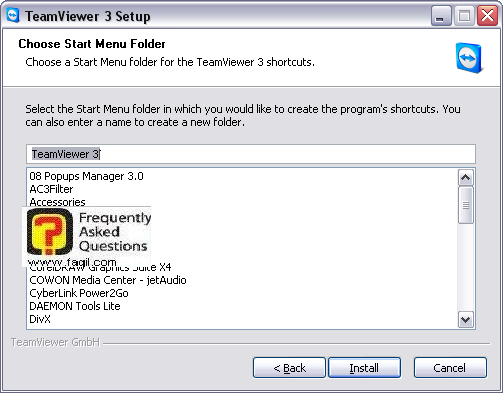 מסך תפריט מהיר להתקנה,teamviewer
