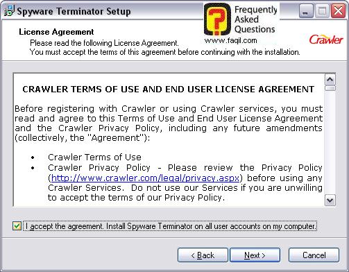 מסך הסכם הרישיון  להתקנה,spyware terminator