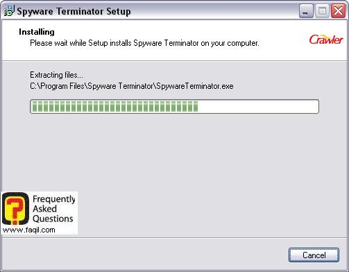ההתקנה החלה,spyware terminator