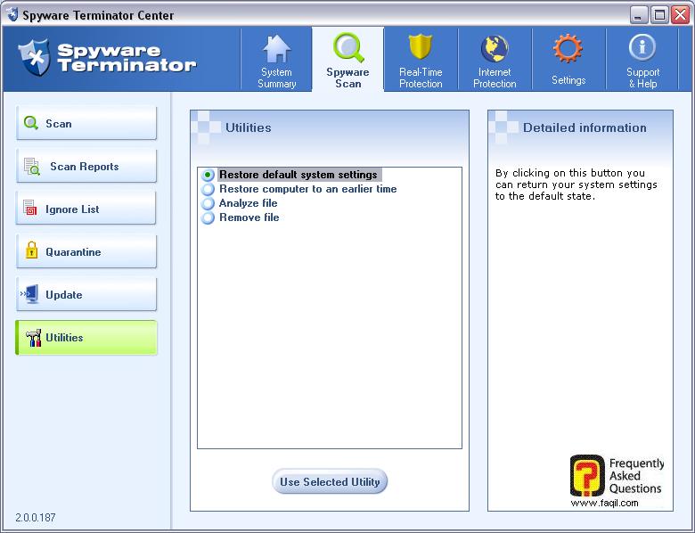 הגדרות המערכת הראשוניות,spyware terminator