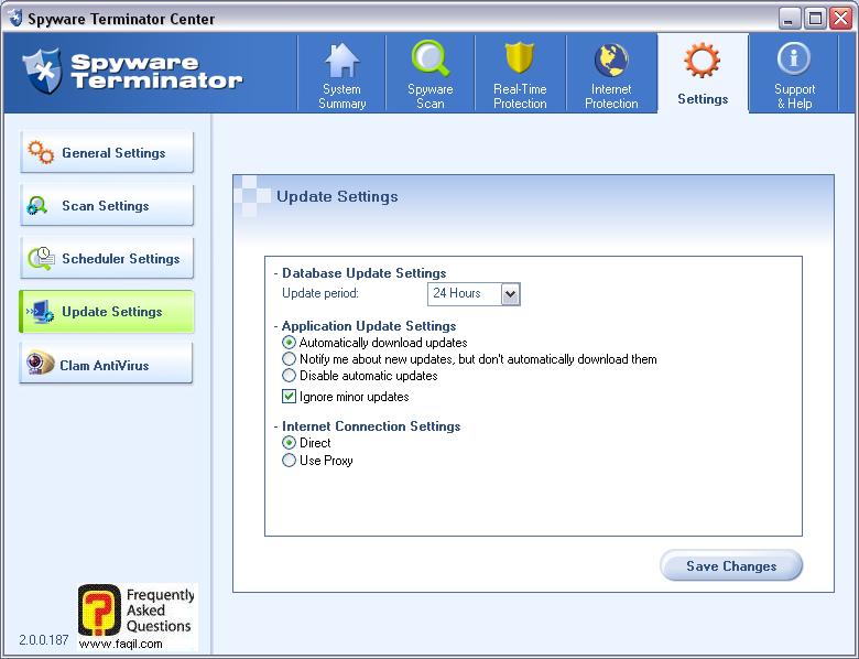הגדרות עדכונים,spyware terminator