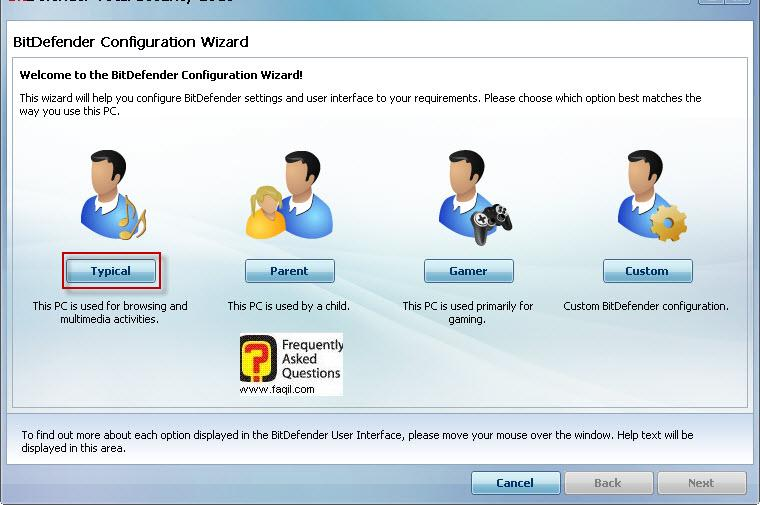 בחרו את סוג האפשרות המתאים,BitDefender Total Security 2010