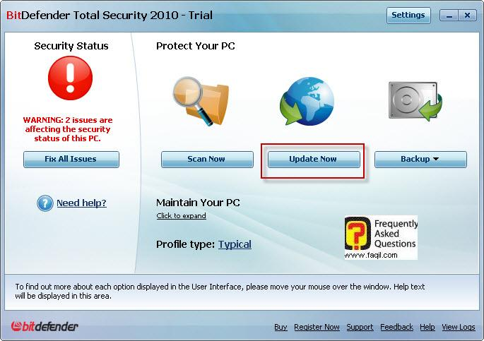 כדי לעדכן ,BitDefender Total Security 2010