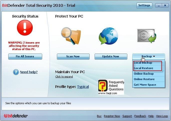 אפשרות הגיבוי,BitDefender Total Security 2010
