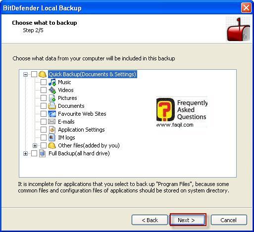 מסך ברוכים הבאים לגיבוי,BitDefender Total Security 2010